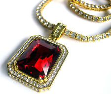 Rick Ross Lab Ruby Gold Plated Hiphop bling Pendant and Faux Diamond Chain