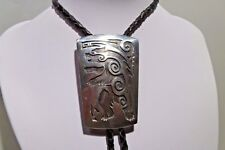 Grizzly Bear Hopi Bolo Tie Necklace Sterling Native American Signed Sun Amazing