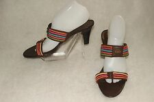 COVINGTON ~ Brown Leather & Colorful Braids Sexy Slides Sz 10 M * VERY GOOD COND