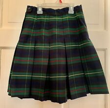 "Royal Park Uniforms Girls Sz 10 Green Plaid Pleated Skirt Side Zip 19"" Long"