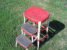Vintage Mid Century Red Cosco Step Stool Seat Metal 2-Step