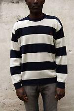 Navigare Jumper Knit Sweat Casuals Top Auth Striped Dark Blue Beige XXL SLIM