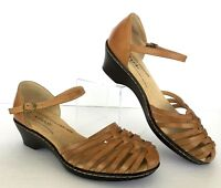 Comfort Sandal Softspots 8.5 W Natural Tan Leather Strappy Ankle Strap Shoe
