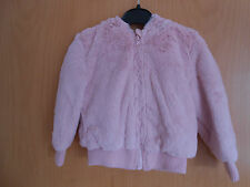 Lovely Girls Pink Furry Zip front Hooded Jacket, BNWT George, age 4-5