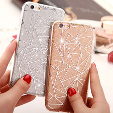 For iPhone 8 X 7 6S Soft TPU Bumper Case Diamonds Pattern Glitter Hard Cover