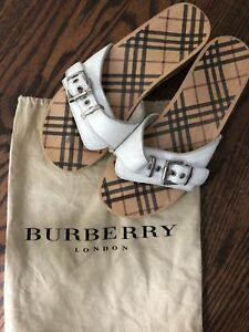 BURBERRY Shoes Sandals ITALY 38 White Wood Dr. Scholl's US 8 With Dust Bag