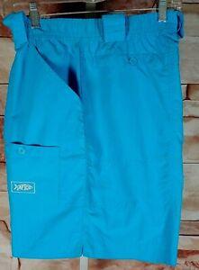 AFTCO M01L Original Long Nylon Fishing Shorts Vivid Blue Mens 38 Quick Dry Cargo