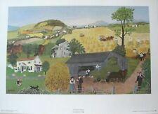 "Grandma Moses ""Harvest Time"" Art Print  1951 20 x 14 Free Shipping"