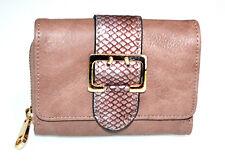 PORTAFOGLIO BEIGE ROSA donna fibbia oro borsello portamonete borsellino G6