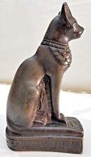 Unique Handcarved Basalt Stone Egyptian Bastet Cat Goddess Statue