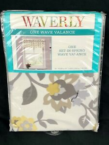 """New Waverly One Wave Window Valance """"Set in Spring"""" 52""""x16"""" Sterling Gray Floral"""