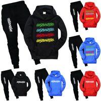 Kids Unspeakable Tracksuit Set Casual Pocket Hoodie + Pants Youtuber Outfits UK
