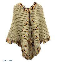 Vintage Handmade Granny Square Crochet Sweater Poncho Women's One Size Fringe