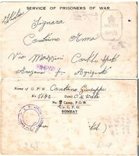 1942 WW II INDIA / BOMBAY TO ITALY POW MILITARY CENSOR MAIL (JF)