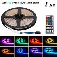 1*RGB LED Strip Light 5M 5050 Waterproof SMD Tape With Remote 12V Power Adapter