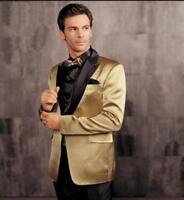 Gold Blazer Black Pants Groom Tuxedos 2 Piece Groomsman Men Wedding Suits