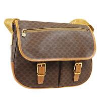 CELINE Macadam Cross Body Shoulder Bag M90* Purse Brown PVC Leather AK38110b