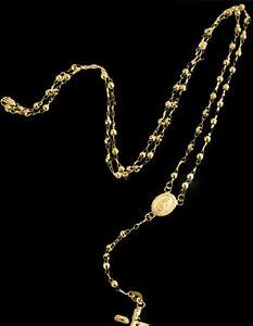 "Real 10k Yellow Gold Diamond Cut  Jesus Crucifix Beads Rosary Necklace 22"" Oro"
