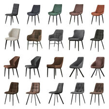Set of 2 Faux Leather Suede Dining Chairs Metal Legs Reception Chair Grey&Brown