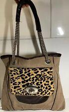 Vince Camuto Leopard Print Calf Hair Beige Leather Large Hand Bag Purse