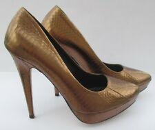 Dune size 8 (41) bronze metallic leather high heel court shoes with platforms