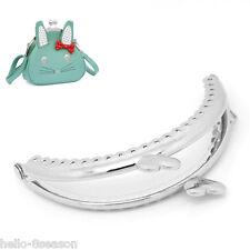 3PCs 8.5x5.5cm Polished Bag Purse Metal Frame Kiss Clasp Arc Heart Silver Tone