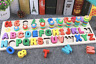 Early Educational Preschool Wooden Toys Letters Numbers Shape Cognition Baby Fun