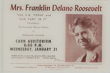 Vintage Eleanor Roosevelt Poster advertising talk about United Nations