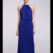 Xscape Pleated Chiffon Halter Maxi Long Evening Dress Size 8 RRP £159 BNWT Blue