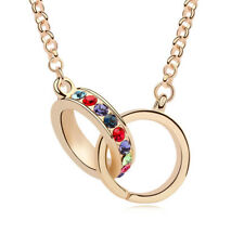 18K Rose Gold Plated Made with Swarovski Element 2 Linked Circle Multi Necklace