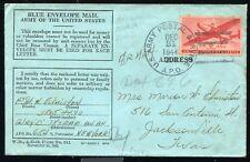 APO 206 1944 (NAMUR, BELGIUM) BLUE ENVELOPE MAIL from APO 654 to JACKSONVILLE TX