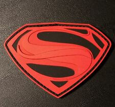 SUPERMAN BLACK OPS RED PVC MORALE VELCRO® BRAND FASTENER PATCH