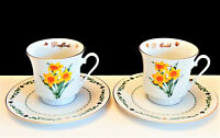 Domestications Daffodil footed tea coffee cup saucer set flowers of the month