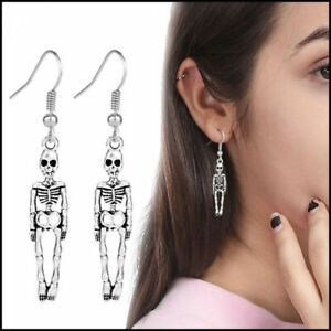 Vintage Silver Plated Skeleton Human Body Halloween Scary Earrings Gift