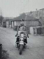 Man On Motorcycle Vintage B&W Photograph Snapshot Leather Jacket Hat Street