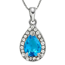 "Created Blue Topaz Teardrop German Silver Pendant with 18"" Sterling Silver Chain"