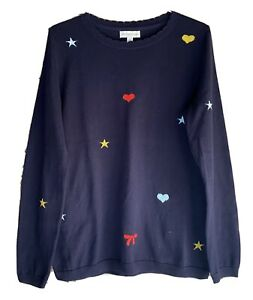 Ladies Monsoon Jumper Navy Blue Size Small (1012) Stars Hearts Bows Lightly Worn