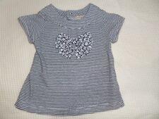 Grain De Ble Girl Blue Striped Big Bow Blouse 100% Cotton Size 6 Months