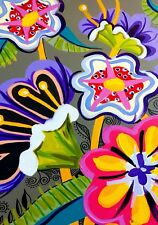 Jigsaw puzzle colourful Australian art flowers bright
