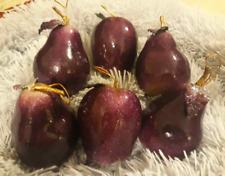 Lot 6 Purple Fruit Christmas Ornaments (2 Apples 4 Pears)