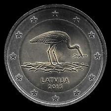 2 EUROS COMMEMORATIVE LETTONIE 2015 - CIGOGNE -  NEUVE DE ROULEAU