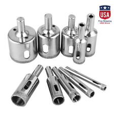 10xSteel Diamond Drill Bit Hole Saw Glass Marble Tile Cutter Rotary Tool 6-30mm