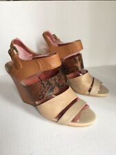 Beautiful*Womens/Ladies*BACO Bozzolo Brown, Leather Croc/Snake Wedge Sandals 8M