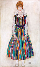 Portrait of Edith the Artists Wife A1 by Egon Schiele Quality Canvas Art Print