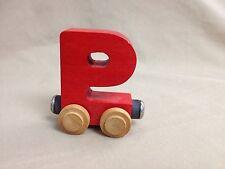 Maple Landmark Woodcraft Red Letter P Name Train Compatible w Thomas Brio Trains