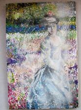 Expressionist Frau mit Hut im Garten  Öl auf Holz