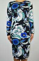 M&S Autograph Pencil Black Blue Dress Floral Long Sleeve Work Autumn Size 10 AF