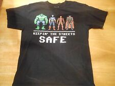 OFFICIAL MARVEL SUPER HEROES KEEPIN' THE STREETS SAFE BLACK T-SHIRT SIZE: L
