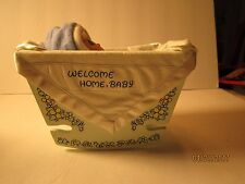 Welcome Home Baby in Wooden Cradle Precious Moments blue