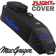 MACGREGOR XL DELUXE WHEELED PADDED GOLF BAG FLIGHT TRAVEL COVER BLACK / BLUE